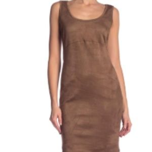 Philosophy tan faux suede body-con dress